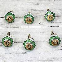 Ceramic cabinet knobs, 'Green Flowers' (set of 6)