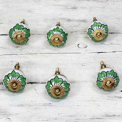 Ceramic cabinet knobs, 'Green Flowers' (set of 6) - Ceramic Cabinet Knobs Floral Green White (Set of 6) India