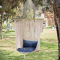 Cotton hammock swing, 'Sandy Beach' - Artisan Crafted Mexican Cotton Swing Hammock