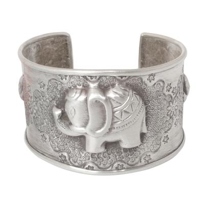 Sterling silver cuff bracelet, 'Hill Tribe Elephants' - Handmade Sterling Silver Cuff Bracelet
