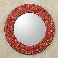 Wall mirror, 'Cape Coast Crimson' - Africa Artisan Crafted Circular Red Wall Mirror