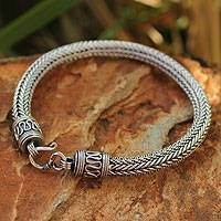 Men's sterling silver bracelet, 'Lanna Hero' - Men's Unique Sterling Silver Chain Bracelet