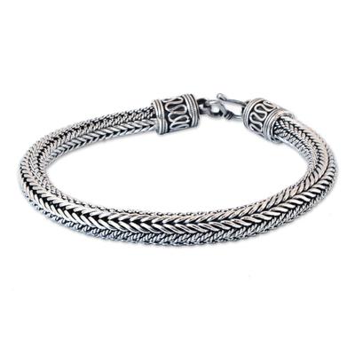 Men's sterling silver bracelet, 'Lanna Hero' - Men's Unique Sterling Silver Chain Bracelet