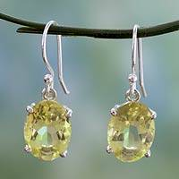 Quartz dangle earrings, 'Lemon Solitaire' - Faceted Lemon Quartz Dangle Earrings from India