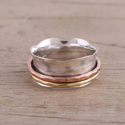 Sterling silver meditation spinner ring, Wavy Cyclone