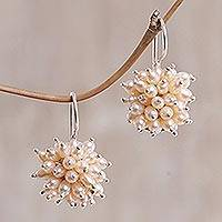 Pearl cluster earrings, 'Pink Cluster' - Pearl cluster earrings