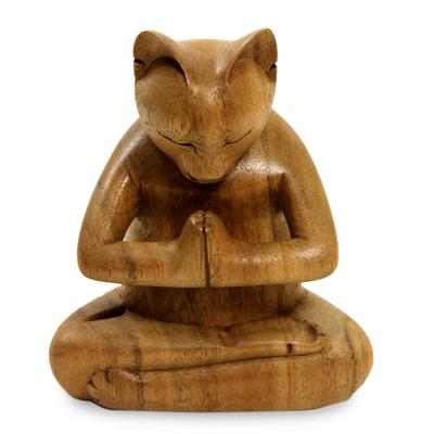 Wood sculpture, 'Mindful Cat' - Carved Suar Wood Sculpture