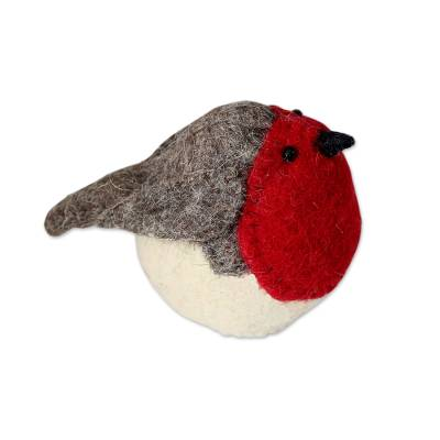 Wool tree top ornament, 'Robin's Delight' - Hand Crafted Wool Holiday Tree Top Bird from India