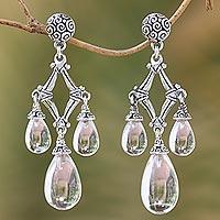 Quartz chandelier earrings, 'Crystal Drops' - Clear Quartz and 925 Silver Chandelier Earrings from Bali