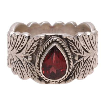Garnet band ring, 'Energetic Drop' - Teardrop Garnet Band Ring Crafted in India