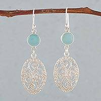 Opal dangle earrings, 'Capture Nature' - Opal and Sterling Silver Dangle Earrings from Thailand
