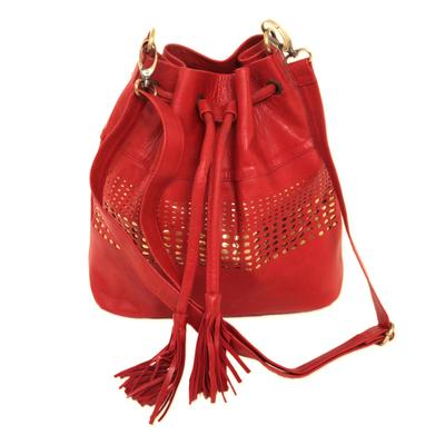 Adjustable Leather Bucket Bag in Crimson from Java