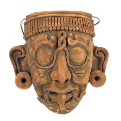 Ceramic mask, 'Maya Lord Kinich Aha' - Maya God of Sun Ceramic Wall Mask Replica Crafted by Hand