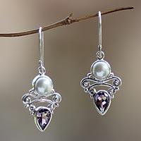 Pearl and amethyst dangle earrings, 'Guardian Moon' - Amethyst and Pearl Dangle Earrings