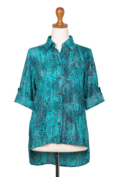 Batik rayon hi-low blouse, 'Green Glyphs' - Rayon Batik Long Sleeve Green-Blue Hi-Low Button Blouse