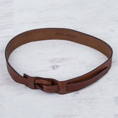 Leather belt, 'Timeless' - Hand Crafted Natural Brown Leather Belt from Peru