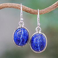 Lapis lazuli dangle earrings, 'Majestic Blue' - Thai Sterling Silver and Lapis Lazuli Earrings