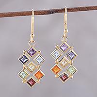 Gold plated multi-gemstone dangle earrings, 'Wellness' - Gold-Plated Multi-Gemstone Chakra Earrings from India