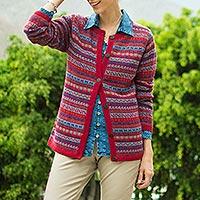 100% alpaca cardigan, 'Andean Appeal' - Striped 100% Alpaca Cardigan Crafted in Peru