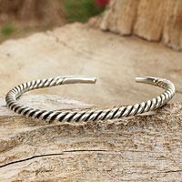 Men's sterling silver cuff bracelet, 'Thai Swirl'