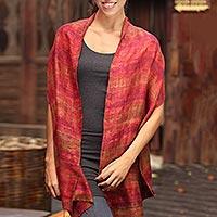 Silk scarf, 'Crimson Wilderness'