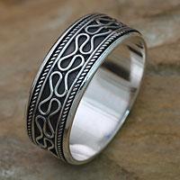 Men's sterling silver meditation spinner ring, 'Rolling Waves' - Sterling Silver Balinese Meditation Spinner Ring for Men