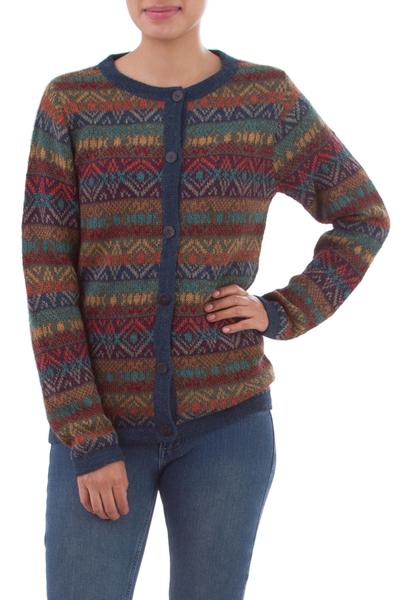 100% alpaca cardigan, 'Diamond Variety' - 100% Alpaca Wool Multicolor Cardigan with Buttons