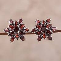 Rhodium plated garnet button earrings, 'Scarlet Burst'