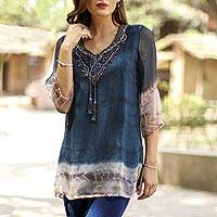Tie-dyed viscose tunic, 'Delhi Azure' - Tie-Dyed Viscose Tunic in Azure from India