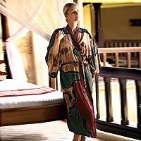 Women's batik robe, 'Russet Hills'