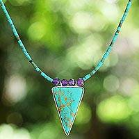 Amethyst pendant necklace, 'Island Luck' - Thai Reconstituted Turquoise Triangle Pendant Necklace