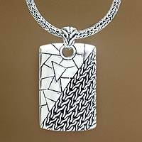 Men's sterling silver pendant necklace, 'Two Characters'