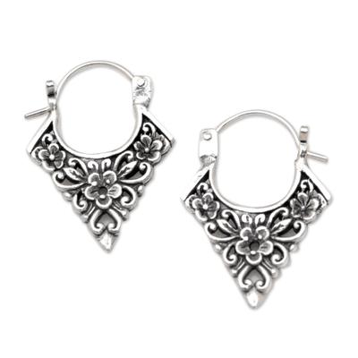 Sterling silver hoop earrings, 'Floral Points' - Floral Pointed Sterling Silver Hoop Earrings from Bali