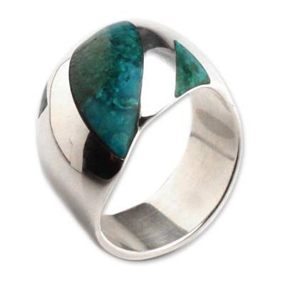 Chrysocolla dome ring,
