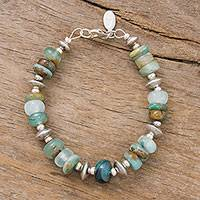 Opal beaded bracelet, 'Andean Green'
