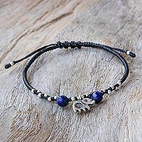 Lapis lazuli beaded bracelet, 'Spiritual Elephant'