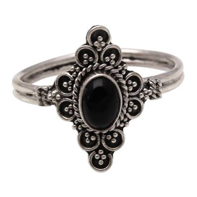 Handcrafted Onyx Cocktail Ring from Bali