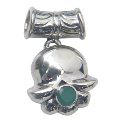 Hand Crafted Sterling Silver and Emerald Pendant