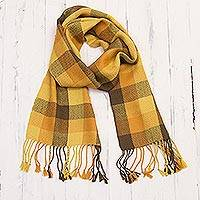 100% baby alpaca scarf, 'Lovely Plaid' - 100% Baby Alpaca Wrap Scarf with Checked Patterns from Peru