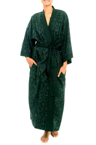 Bamboo Motif Cotton Robe in Grey from Bali