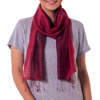Silk scarf, 'Roses and Red Wine' - Handcrafted Silk Scarf