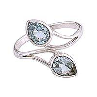 Rhodium plated blue topaz wrap ring, 'Blue Teardrops'