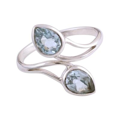 Rhodium plated blue topaz wrap ring, 'Blue Teardrops' - Rhodium Plated Blue Topaz Wrap Ring from India