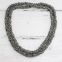 Labradorite long beaded necklace, 'Beautiful Mood'