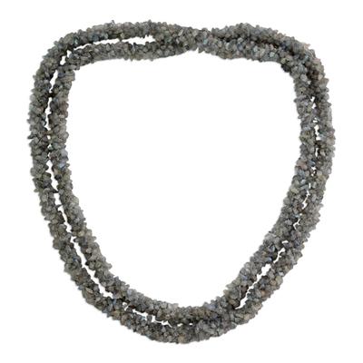 Labradorite long beaded necklace, 'Beautiful Mood' - Labradorite long beaded necklace