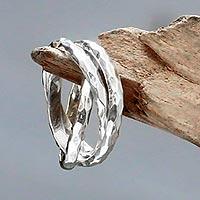 Sterling silver band rings, 'Denpasar Roads' (set of 3)