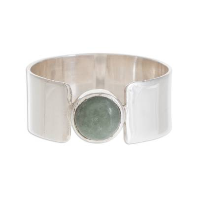 Jade band ring, 'Magic Maya in Apple Green' - Apple Green Jade Band Ring from Guatemala