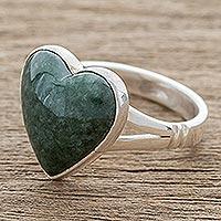 Jade cocktail ring, 'Love Dream' - Heart-Shaped Dark Green Jade Cocktail Ring from Guatemala