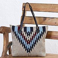 Leather accent Zapotec wool shoulder bag, 'Diamond Bliss' - Wool Shoulder Bag with Zapotec Diamond Pattern and Leather