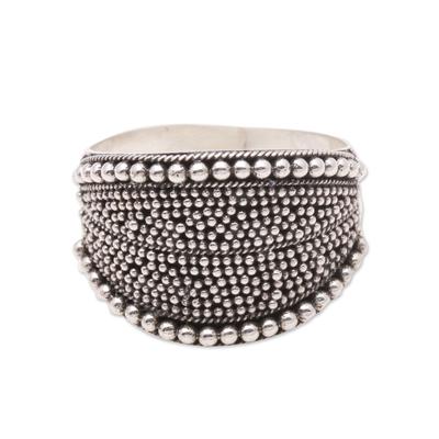 Sterling silver band ring, 'Balinese Dots' - Dot Pattern Sterling Silver Band Ring from Java